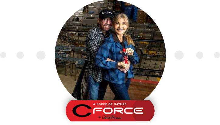 Chuck and Gena Norris at the CForce Bottling Plant in Navasota, Texas.
