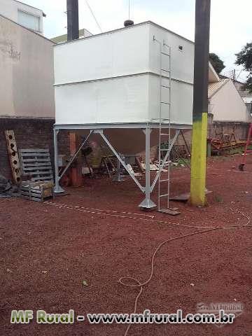 Caixa tipo silo metalica construida com chapas 1/8  3 mm de espessura cap de 15 mts cubicos