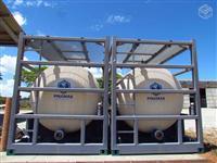 Tanque portátil para transporte marítimo cilindrico horizontal em aço INOX ASTM