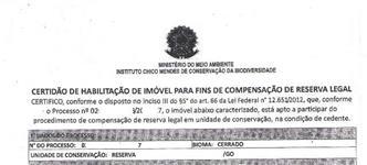 Área p/ Reserva Legal com ICMBIO