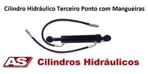 CILINDRO HIDRÁULICO TERCEIRO PONTO COM MANGUEIRAS