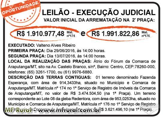 Leilão de Execução Judicial - Araputanga/MT