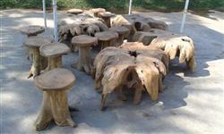 Banqueta banco de madeira rustica e tronco raiz jardim demolição