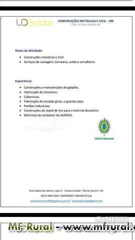 SOLDAS E CONSTRUÇÕES Empresa com Sede Própria, situada em Campo Grande, Galpão com capacidade par