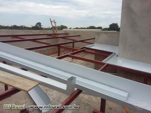 Fabricação e montagem de galpões metálicos, estrutura metálica para telhado.