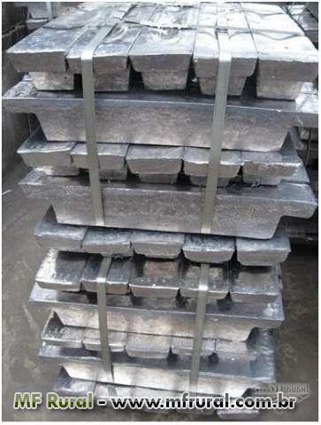 Tungstênio, Chumbo, Cobalto, Ferro, Tântalo, Ródio, Mercúrio e metais não-ferrosos no geral