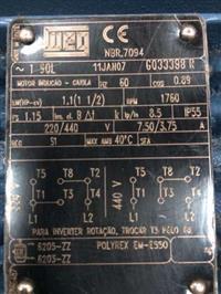 MOTOR ELÉTRICO WEG NOVO 1.1/2 CV 220/440V - 1760RPM