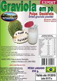 POLPA DE GRAVIOLA DESIDRATAR ( em pó)  emb. de 200  g,  preço especial para revendedores e distribui