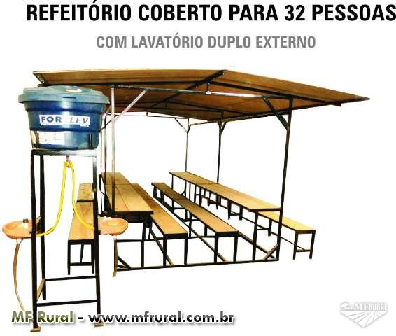 BANHEIRO DUPLO TETRAPAK COM CARRETA FOSSA SECA