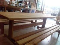 mesa madeira maciça, 2,5m + 2 bancos