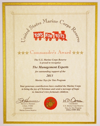 MGE Management Experts US Marines Toys for Tots Award