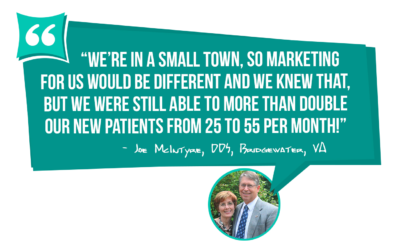 Joe McIntyre DDS went from 25 to 55 new patients per month - learn how you can too with MGE Management Experts!