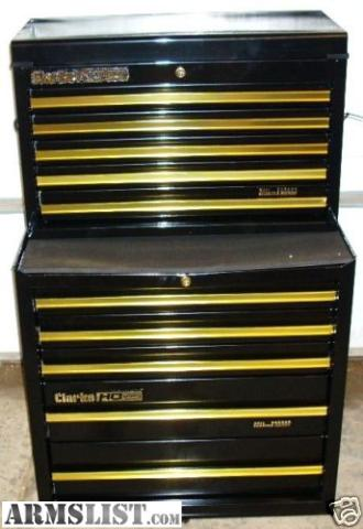 Bottom is roll around 7 drawer w/casterstop is 3 drawer Black w/gold accents all drawers lock.(picture below is not my actual box but looks identical other ... & ARMSLIST - For Sale: Brand new in box Clarke 2 piece mechanics tool box
