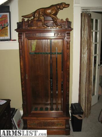 armslist - for sale: antique eastlake walnut gun cabinet lighted