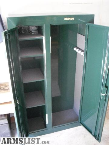 Attractive This Is A Stack On Double Door 10 Gun Security Cabinet. Like New Barely  Used. Green With Gold Hardware. One Side Is Shelves For Storing Handguns Or  ...
