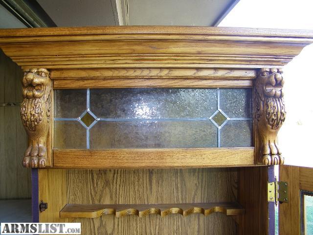 ARMSLIST - For Sale: Solid Oak Pulaski 6 Gun Cabinet / Lighted ...
