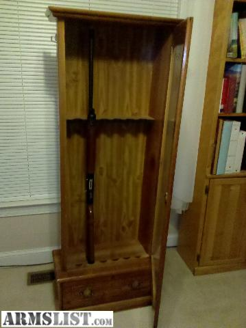 ARMSLIST For Sale Wooden gun cabinet with glass door 125