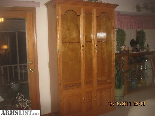 Custom Made Gun Cabinet Holds 15 Long Guns With Room For Pistols At The  Bottom. Locking Glass Doors On Top And Wooden Storage Doors On The Bottom  All Lock ...
