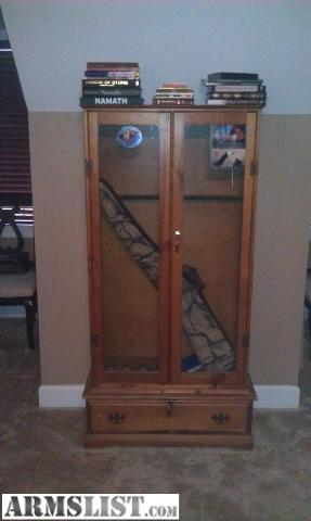 Homemade Gun Cabinet With Storage Drawer In Bottom. Both Cabinet And Drawer  Have Locks That Are Keyed Alike. Very Nice Looking Cabinet.