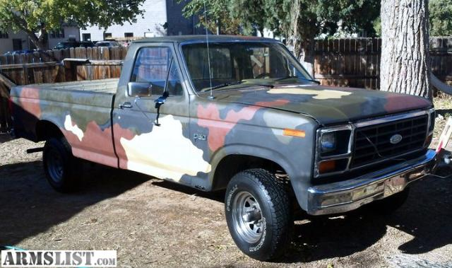 armslist for sale fs ft 1985 ford f150 4x4 f 150 4wd camo hunting truck. Black Bedroom Furniture Sets. Home Design Ideas