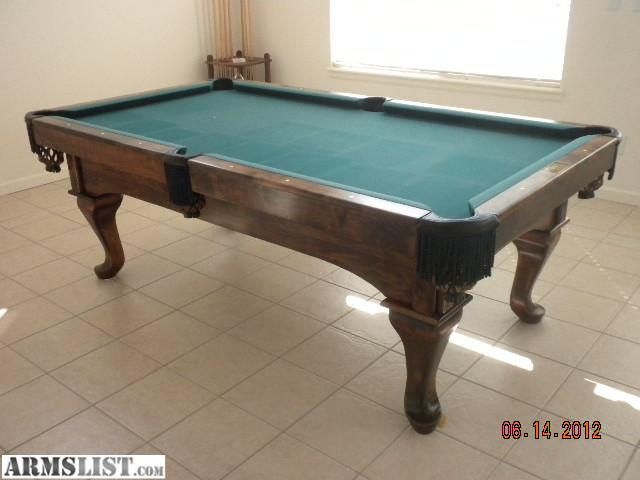 For Sale Or Trade Is A Gorgeous 8u0027 A.E. Schmidt Oak Pool Table With Leather  Pockets And Green Felt. 1 Inch Thick Slate. Great Condition, Bumpers,  Pockets ...