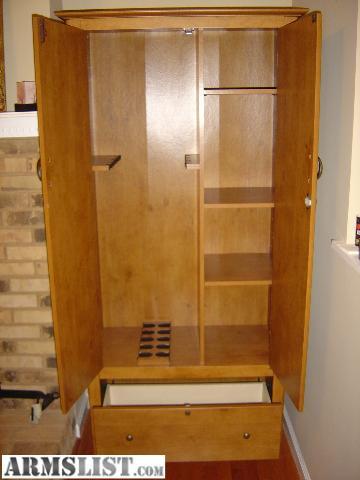 ARMSLIST - For Sale: Locking wood gun cabinet