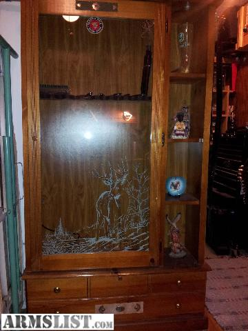 ARMSLIST For Sale Wood with Glass door 8 gun gun cabinet