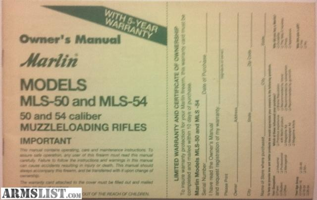 armslist for sale marlin mls 50 and mls 54 muzzleloading rifle rh armslist com marlin 444 owners manual marlin owners manuals 922m
