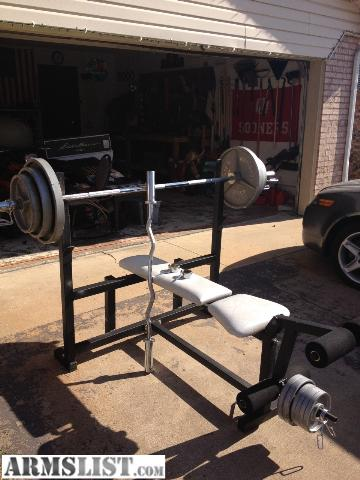 Armslist For Sale Trade Weight Bench Straight And Curl Bars 250 Pounds Of Weights