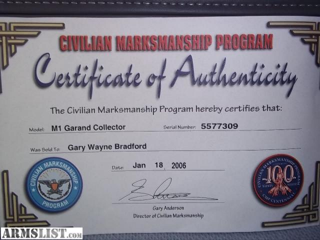 cmp m1 garand collector grade certified armslist 1500