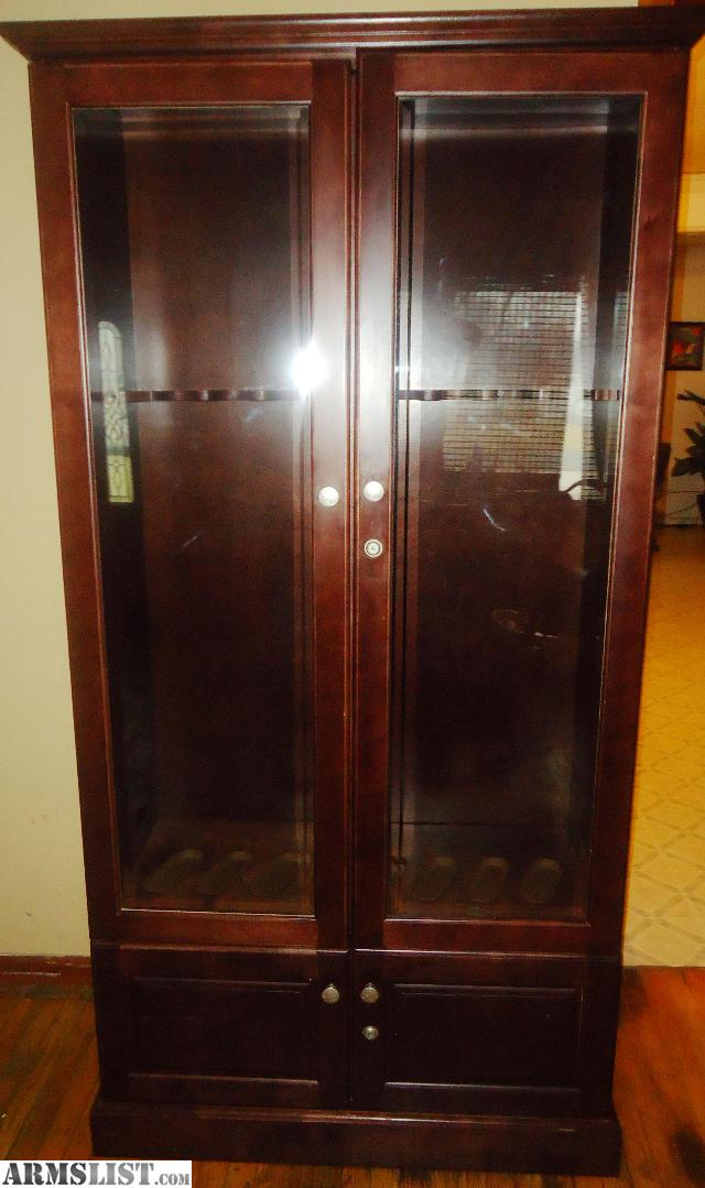 For Sale/Trade: 8 GUN WOOD DISPLAY CABINET MADE BY GANDER MOUNTAIN FOR SALE  OR TRADE - ARMSLIST - For Sale/Trade: 8 GUN WOOD DISPLAY CABINET MADE BY GANDER