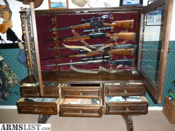For Sale: Custom Wooden Gun Cabinet  Hold Guns Horizontal
