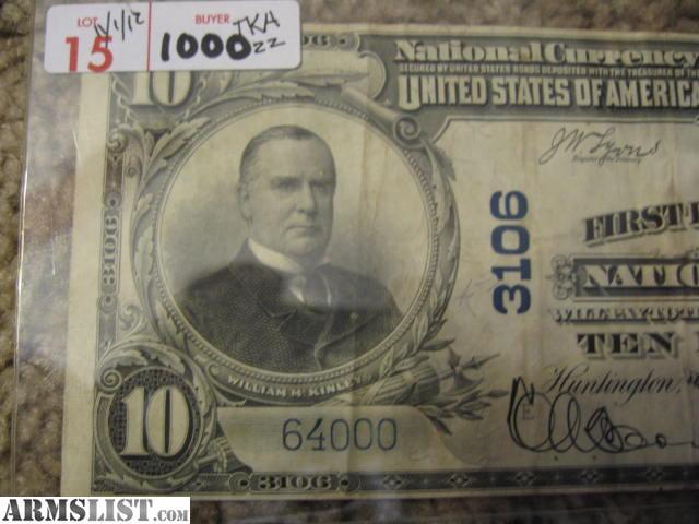 armslist for sale rare 1904 10 dollar bill