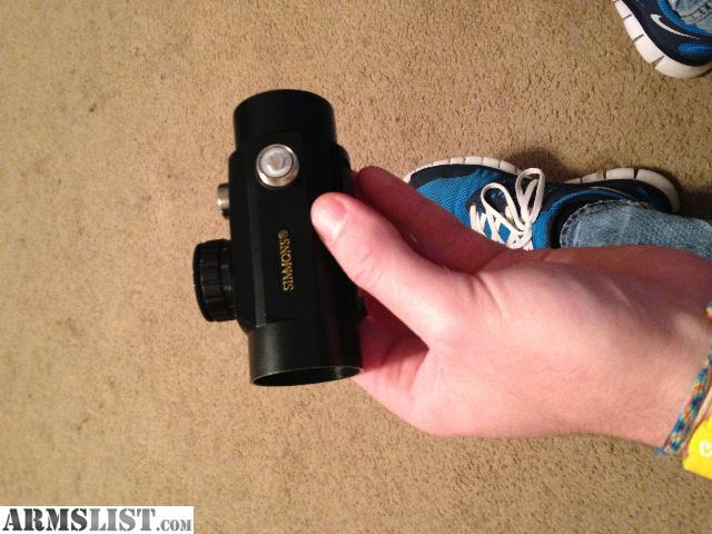 simmons red dot scope. simmons red dot scope with 11- brightness settings. text or email only please redacted d