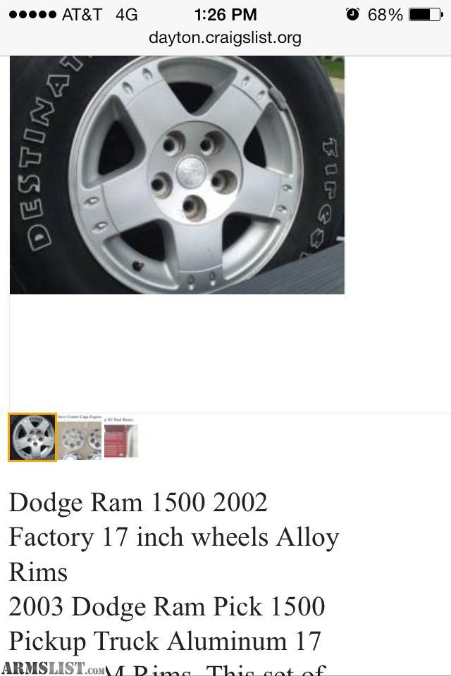 2003 Dodge OEM Ram 1500 Pickup Truck Quad Cab 17 Inch Aluminum Rims With  Tires. This Set Of Four Will Fit Five Lug Dodge Ram 1500 Pickup Trucks And  Durango.