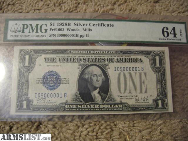 Armslist For Sale 1928 Mint One Dollar Bill With A Unique Serial