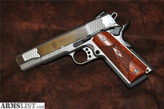 For sale is Smith & Wesson E Series 1911 .45ACP handgun. With a stainless steel finish this gun is as nice to look at as it is to shoot.
