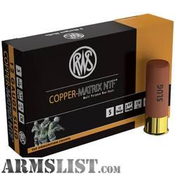 This RWS 12 Gauge ammo is designed specifically for door breaching. It comes in a 2-3/4\  shell with a 375 grain NTF slug which it launches at 1505 fps.  sc 1 st  Armslist.com & ARMSLIST - For Sale: 5-5 Round Boxes 12 Gauge RWS Copper Matrix NTF ...