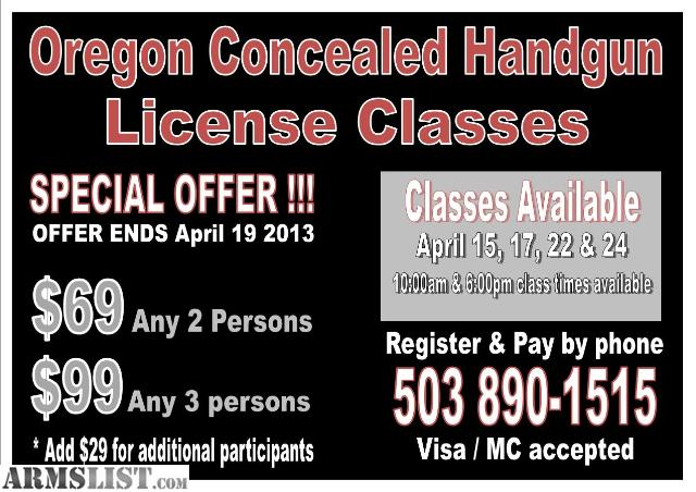 ARMSLIST - For Sale: Concealed Carry & DPSST Classes * SPECIAL OFFERS!!