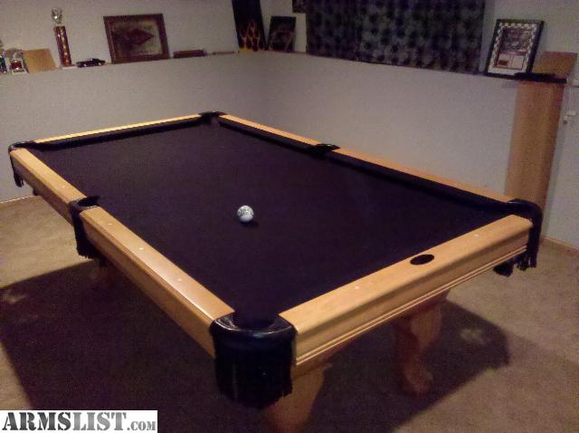 7u0027 American Classic Custom Pool Table. Light Oak Finish, Custom Black Felt,  Black Leather Pockets, Full Accesories Package Includes Four Cues Custom  Marble ...