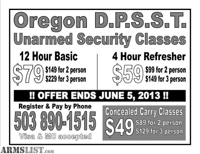 ARMSLIST - For Sale: OREGON D.P.S.S.T. Certification & Refreshers ...