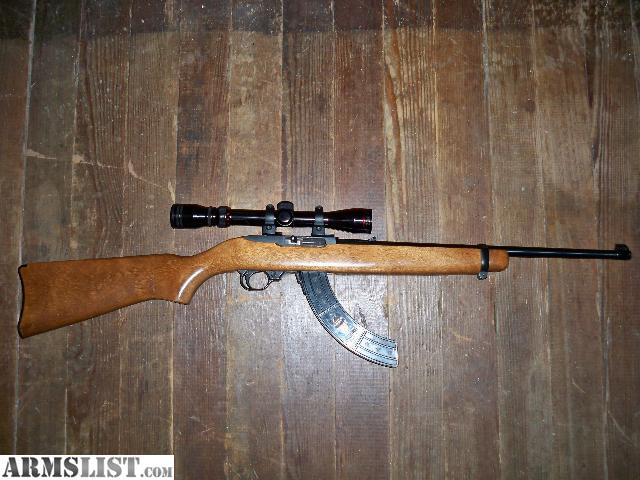 simmons 3x9 scope. older ruger 10/22,blued,eagle 30 rd mag,wooden birch stock,excellent condition.trade only for either a h\u0026r handi rifle in .44mag or .357 mag,cheaper simmons 3x9 scope