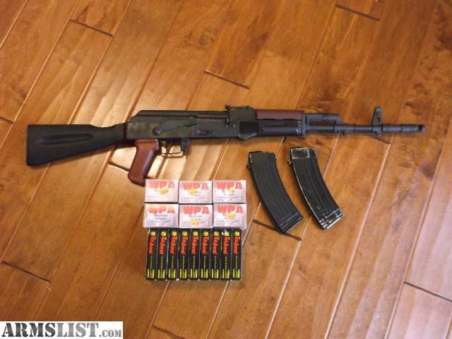 AK 74 With Beautiful Original Bulgarian Plum Furniture, 2 Steel Magazines,  And 540 Rounds Of Commercial Russian 5.45 Ammo (60gr FMJ Tula And 55gr  HP/SP WPA) ...