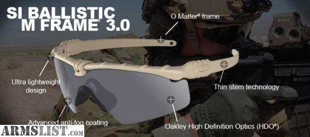 oakley military si ballistic m  i have a new in box pair of oakley si ballistic m frame 3.0 glasses in dark bone (tan/fde) w/ clear lenses for sale. these are a real solid pair of glasses.