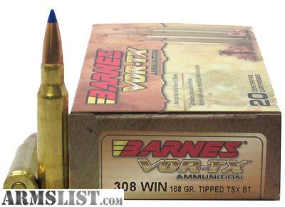 ARMSLIST - For Sale: Barnes VOR-TX .308 Tipped TSX Ammo