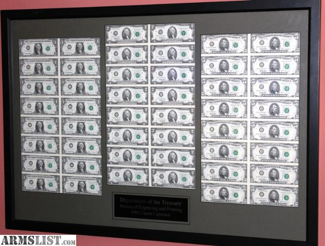 ARMSLIST - For Sale/Trade: 1995 Uncut Currency Sheets Prof Framed ...