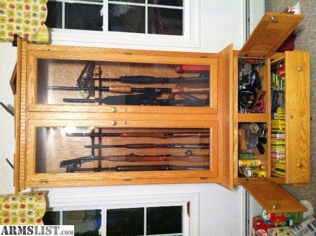 For Sale/Trade: Custom Made Wood Gun Cabinet For Sale Or Trade For Gun Safe