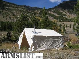 like new used once canvas wall tent by Reliable tent of billings Montana .reliabletent.com gallatin tent with hunters option...stove jack with cover ... : montana wall tents - memphite.com