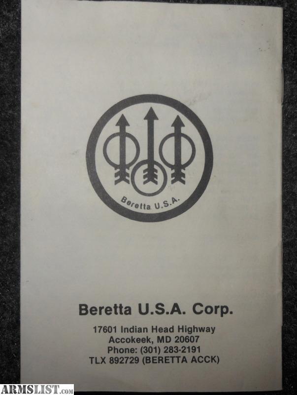 Beretta Model 96 Owners Manual