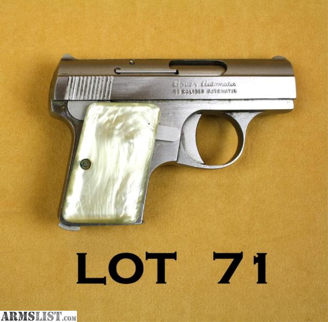 25 .25 ACP PISTOL WITH GOLD ACCENTS & PINK MOTHER OF PEARL GRIPS